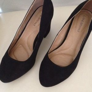 NWT! Lane Bryant 8W Black faux-suede heels pumps